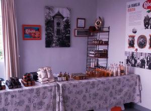 Sala Naranja con tienda y paneles explicativos